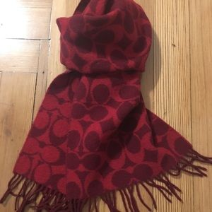 Coach Lambswool Scarf in beautiful brick color red